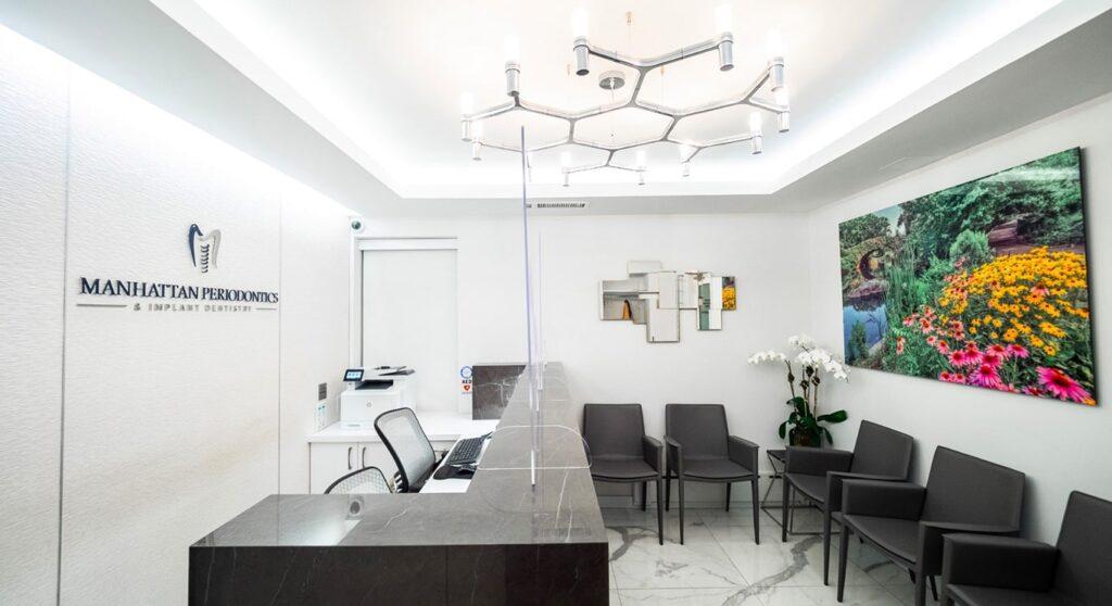 Reception area of Manhattan Periodontics & Implant Specialists